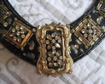 Necklace Black Gold Vintage Elements Rhinestones
