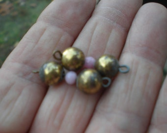 Vintage 1960s Brass Beads Pink Glass Bead Findings Supplies Jewelry Making Supplies Destash Connectors