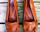 Vintage Calvin Klein honey leather loafters - 8.5