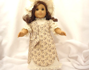 Five piece outfit, for 18 inch dolls.  Dress, Jumper, Pantaloons, Cap and Purse.