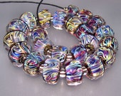 OBSESSION Lampwork Beads by 3MusesGlass SRA Multicolor with iridescent shine