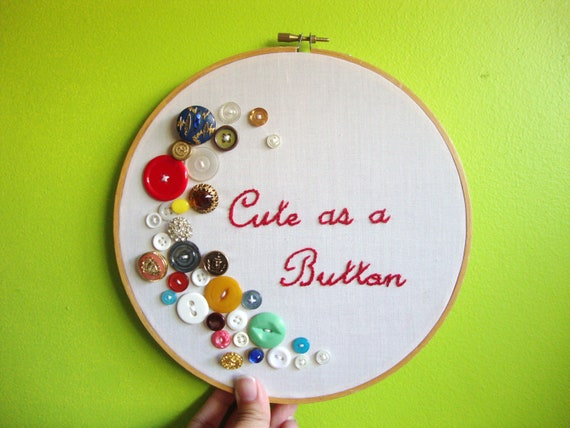 Cute as a Button Embroidery Hoop Vintage Buttons