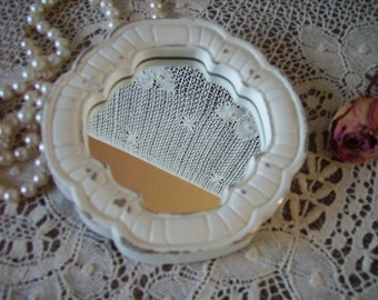 Shabby Petite French country Cottage inspired mirror, scalloped round, Distressed white