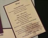 Wedding Menus, 5 x 7 Flat One Sided, Large Tree Pattern, Pearlized Base, Elegant, Eggplant or Color Options