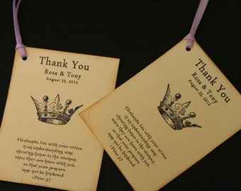 Wedding Favor Tags, Thank You Tags, Vintage, Christian, Shabby Chic, Crown, Scripture, Personalized, French Wedding, Bridal Shower