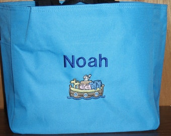 Personalized Baby Kids Noah's Ark  Tote Toy Diaper Bag