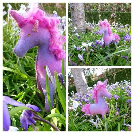 Handdyed Waldorf Steiner Felt Unicorn Toy  NOVEMBER custom ORDER for YOU