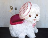Quirky Little Puppy Pin Cushion, Vintage and Upcycled
