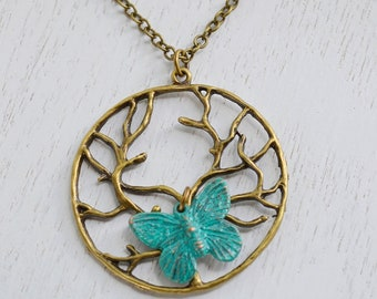 Tree of Life Necklace, Tree Necklace, Tree of Life, Butterfly Necklace, Patina Verdigris, Insect Charm Necklace, layering necklace, bff gift