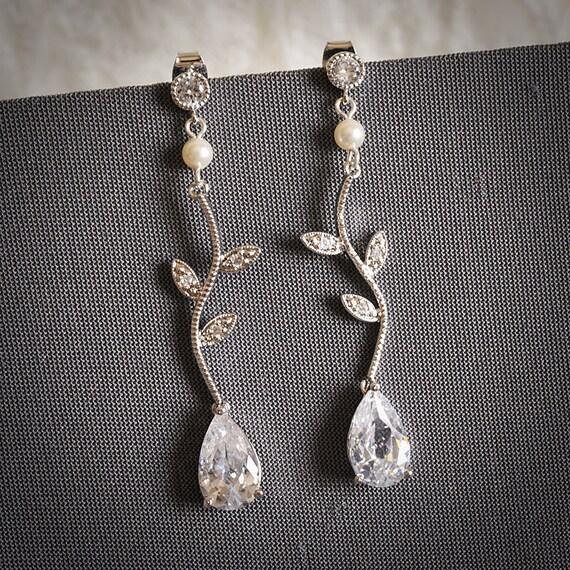 CAISSIE, Modern Vintage Style Spiral Leaf Zirconia Rhinestone Bridal Earrings, Swarovski Crystal & Pearl Wedding Earrings, Art Deco Jewelry