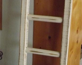 "Reclaimed Wood/ Small Ladder/ primitive white/ rustic/ decorative/ distressed/ 30"" H x 8.5"" W"