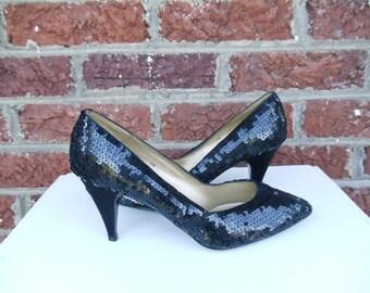 SALE Black Glam Sequin & Satin Pumps - Never Worn - Party Dance Disco Holiday Heels - Burlesque Pin Up Formal Black Tie - Ann Marino - sz 7