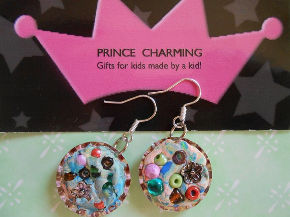 Polymer Clay Hodge Podge Bottle Cap Earrings by Prince Charming