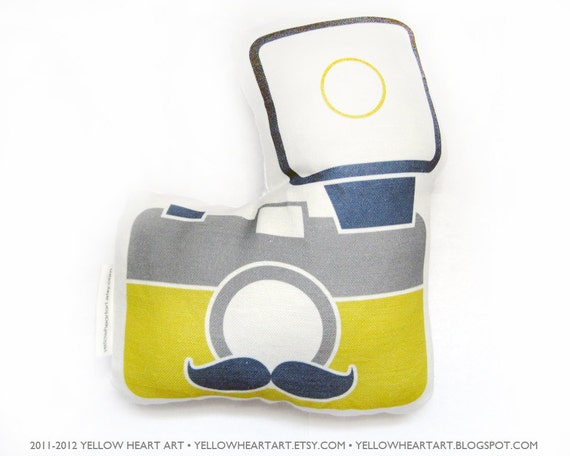 The Gentleman Mr Mustache Camera Plush in Mustard, Gray and Navy by Yellow Heart Art