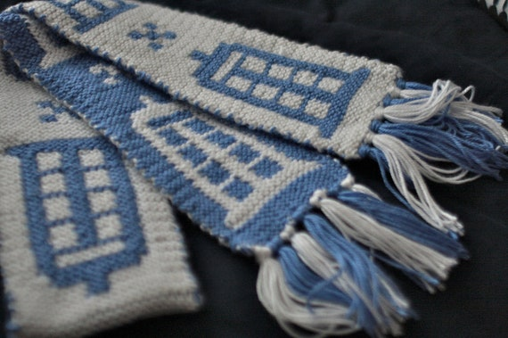 Doctor Who TARDIS scarf Hand Knit White and Blue by ...