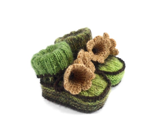 Baby Booties Hand Knitted with Crochet Bell Flowers - Green and Brown, 0 - 3 months