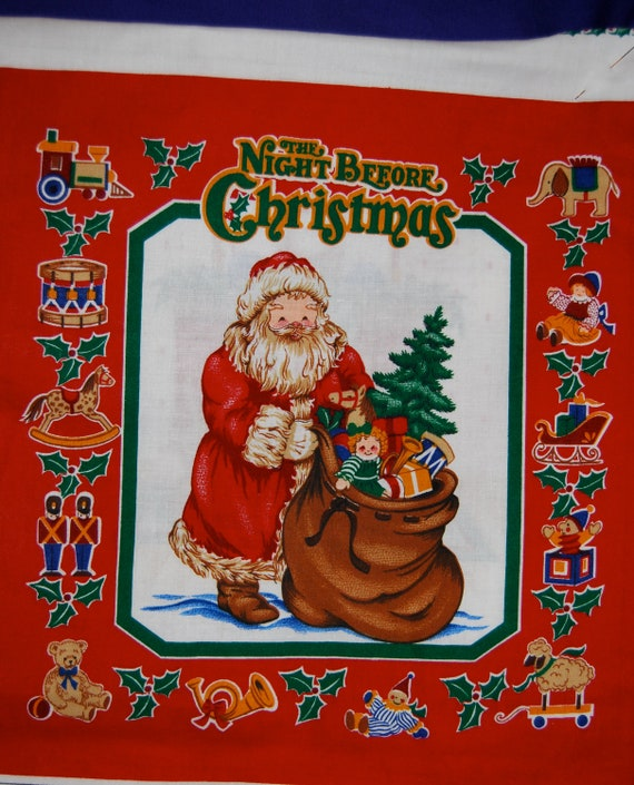 """Twas the Night Before Christmas Fabric Book Panel  Finished Size 10 1/2"""" x 10 1/2"""""""