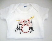Hand Embroidered Baby Girl Onesie Drum Set FREE SHIPPING