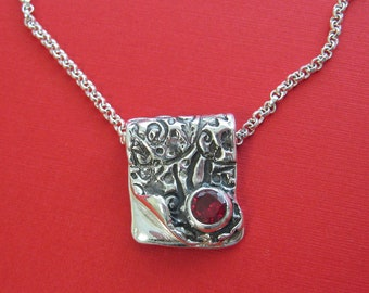 Handmade Silver and Ruby Necklace, Silver Necklace, Ruby Necklace, Silver and Red and Silver, Silver Artisan Necklace, July Birthstone Ruby