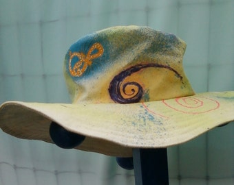 Canvas Sun Hat, Hand Painted