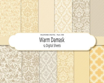 Damask digital paper pack in beige and yellow, digital backgrounds - INSTANT DOWNLOAD 12 jpg files 12x12 - Pack 398