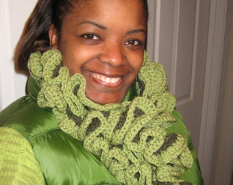 Handcrafted Crochet Two Tone Ruffled Scarf - MADE TO ORDER Crochet Neckwrap - Crochet Ruffled Scarf - Neck wraps Green 25.00