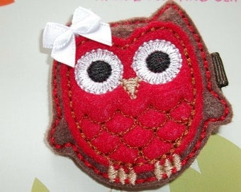 FALL THANKSGIVING  Brown Red Felt OWL Hair Clip Babies Toddlers Girls