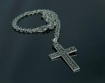 Vintage Silver Tone Cross Necklace