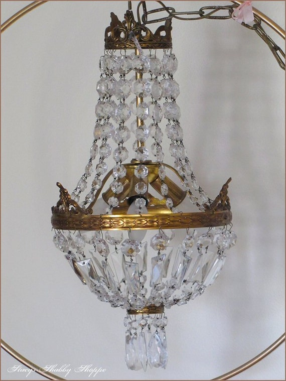 Stunning Vintage ITALIAN CRYSTAL Empire CHANDELIER, Shabby Chic, Romantic Style