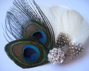 Wedding Bridal Bridesmaid Ivory Peacock Feather Rhinestone Jewel Head Piece Hair Clip Fascinator Accessory