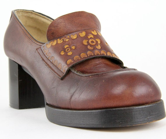 Items similar to 60s 70s Platform Shoes, Mod leather ...