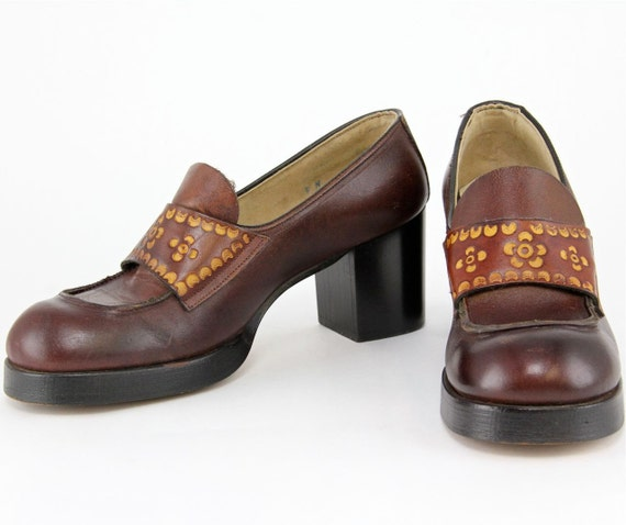 Items similar to 60s 70s Platform Shoes, Mod leather ... - photo #8