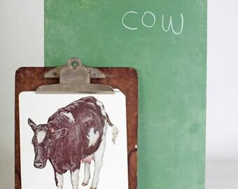 Large vintage language flash card, cow, 1980's