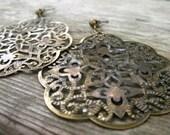 Boho Filigree Earrings, Antiqued Bronze, Large Earrings on Posts