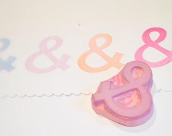 Ampersand Rubber Stamp Hand Carved For Scrapbooking Cards Stationary