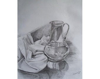 Cold water. Original Pencil drawing. Kitchen art decor. Still Life.
