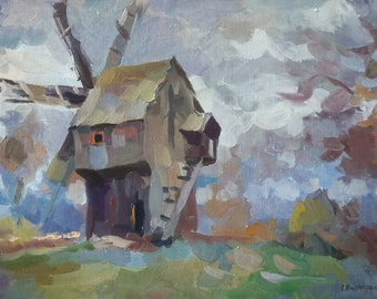 Original Oil Painting, 15.7'' x 23.6'' Autumn landscape, Authentic old windmill, Windmill and cloudy sky.