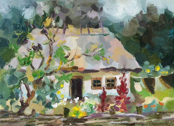 Original Oil Painting of home. Painting of house on canvas. Old house with amaranths. Landscape painting.