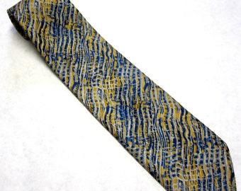 Blue Gold Yellow Necktie Silk Lucien Piccard