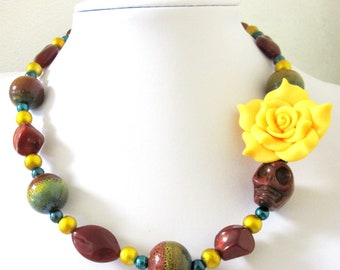Day of the Dead Necklace Sugar Skull Rose Rust Brown Blue Gold Yellow