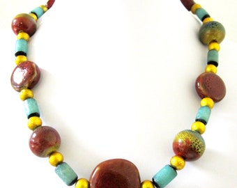 Chunky Western Necklace Cowgirl Bling Porcelain Turquoise Blue Rust Yellow
