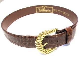 Honey Brown Leather Belt Worthington Moc Croc