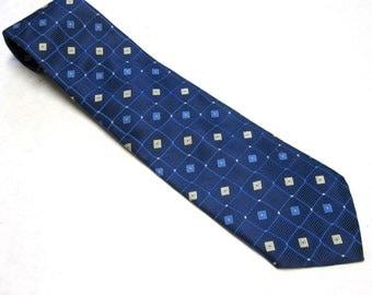 "Vintage Necktie Diamond Pattern Blue Black Van Heusen Silk Tie 3.75"" Wide"