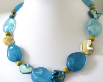 Blue Necklace Shell Ivory Brown Wood