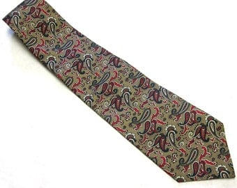Brown Green Red White Necktie Wembley Silk Paisley Tie