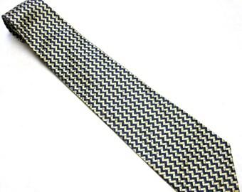 "Vintage Necktie Silk Tie 57"" x 3.75""  Wide Van Huesen Black Gray Cream"