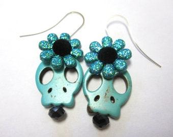Sugar Skull Earrings Day Of The Dead Flower Turquoise Black