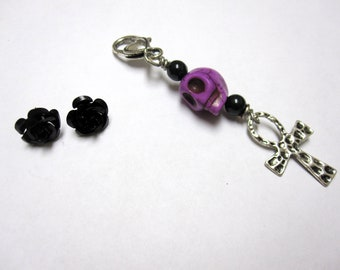 Sugar Skull Earrings Necklace Pendant Day Of The Dead Black Rose Cross