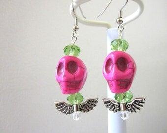Skull Earrings Wings Day of the Dead Earrings Sugar Skull Jewelry Hot Pink Green