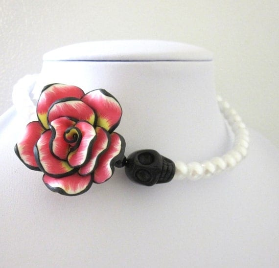 Day of the Dead Necklace Sugar Skull Choker Black White Pink Rose